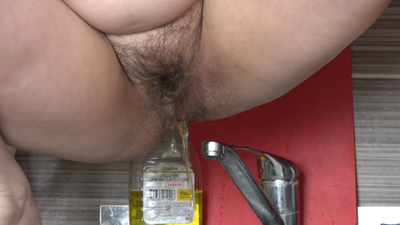 Damsel With Hairy By A Pussy Took Off Her Panties And Began To Write Down The Sink