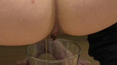 Girl Shit And Pissing Into The Glass