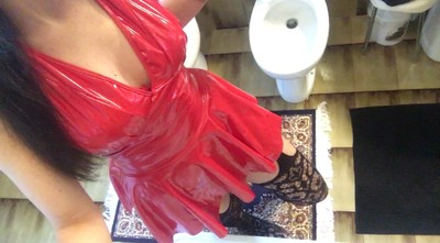 'my Private Moment For Shitting Wearing A Sexy Red Pvc Suit And Black Stockings'