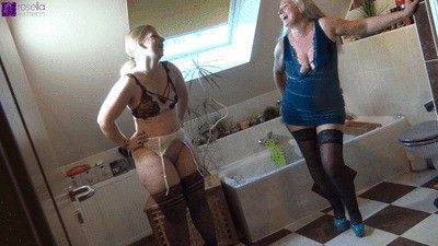 Teeny And Milf Lesbo Mouth-piss Action