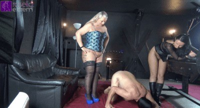 2 Mistresses Pack A Slave With Shit And Piss Part 2
