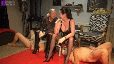 Synchronous Poo Of 2 Dominas In 2 Slave Mouths And Shit-cock Clean Blow Part 1