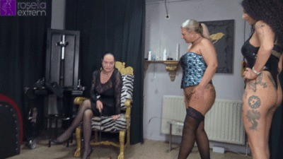 Mara And Rosella Piss A Slave In The Mouth
