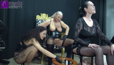 3 Dominas Poo And Piss 2 Toilet Slaves In The Mouth Part 2