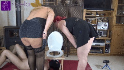Teen Maid And Milf Mistress Use A Toilet Slave
