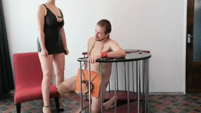 Goddess Roberta Kaviar And Piss Abjection With Toilet In Cage