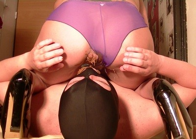 Superb Shitting Through A Purple Seethrough Panty