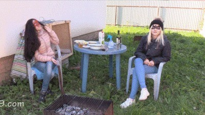 2 Mistresses Barbecue And Toilet Slave